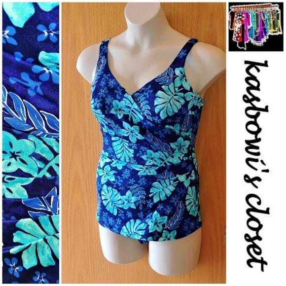 d8a478f71b3 Blue Floral Draped Sheath Swimsuit PLUS
